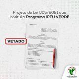 Projeto IPTU Verde é Vetado pelo Executivo